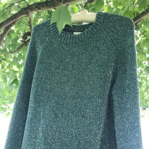 H&M Metallic Green Pullover Sweater Size Medium